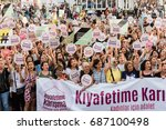 women protesters rally in... | Shutterstock . vector #687100498