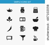set of 12 editable meal icons....