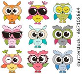 set of cool colorfull owls... | Shutterstock .eps vector #687103864