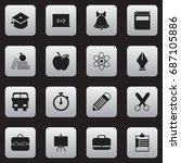 set of 16 editable school icons.... | Shutterstock .eps vector #687105886