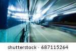 motion blur at railway station | Shutterstock . vector #687115264