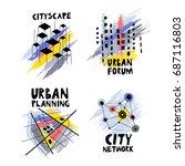 vector set of  trendy logos on...   Shutterstock .eps vector #687116803