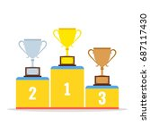 winners podium with gold ... | Shutterstock .eps vector #687117430