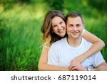 guy walks with the girlfriend... | Shutterstock . vector #687119014