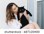 pets  comfort  rest and people... | Shutterstock . vector #687120400
