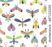 colorful seamless vector... | Shutterstock .eps vector #687121033