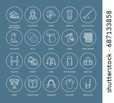 horse polo flat line icons.... | Shutterstock .eps vector #687133858