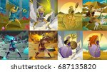 greek roman gods and goddesses | Shutterstock .eps vector #687135820