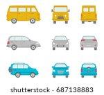 cartoon vector cars in flat... | Shutterstock .eps vector #687138883