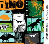 seamless  dino pattern  print... | Shutterstock .eps vector #687139189