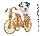 puppy french bulldog and a...   Shutterstock . vector #687140428