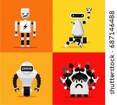 broken mad robots set. bad ... | Shutterstock .eps vector #687146488