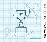 vector blueprint trophy goblet... | Shutterstock .eps vector #687147304