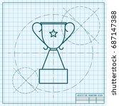 vector blueprint trophy goblet... | Shutterstock .eps vector #687147388