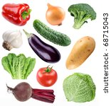 vegetable collection isolated... | Shutterstock . vector #68715043