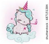 cute cartoon unicorn | Shutterstock .eps vector #687151384