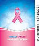breast cancer awareness ribbon... | Shutterstock .eps vector #687152794