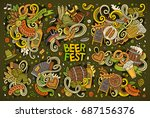 colorful vector hand drawn... | Shutterstock .eps vector #687156376