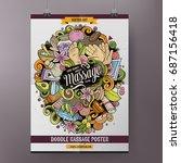 cartoon hand drawn doodles... | Shutterstock .eps vector #687156418