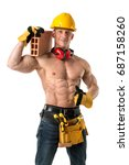 power shirtless athletic... | Shutterstock . vector #687158260