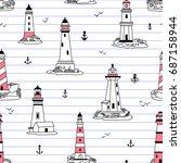 vector lighthouses seamless...   Shutterstock .eps vector #687158944