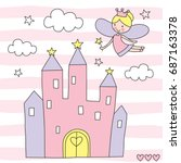 beautiful fairy over the castle ... | Shutterstock .eps vector #687163378