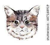 watercolor cat portrait. hand... | Shutterstock . vector #687168919