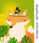 poster. a cartoon fox. green... | Shutterstock .eps vector #687169540