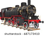 a vintage red and black ten... | Shutterstock .eps vector #687173410