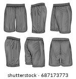 men's black sport shorts.... | Shutterstock .eps vector #687173773