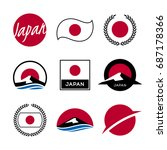 flag of japan  mount fuji and... | Shutterstock .eps vector #687178366