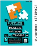 puzzles  riddles  and brain...   Shutterstock .eps vector #687184624