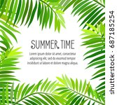 summer party poster with palm... | Shutterstock . vector #687185254