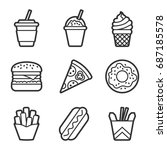 fast food contour icon set.... | Shutterstock . vector #687185578