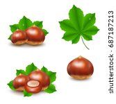 chestnuts set  | Shutterstock . vector #687187213