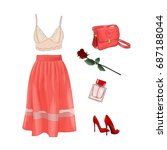 vector of hand drawn fashion... | Shutterstock .eps vector #687188044