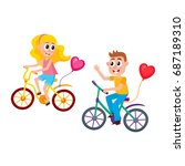boy and girl dating  riding... | Shutterstock .eps vector #687189310