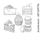 black and white dessert... | Shutterstock .eps vector #687189796