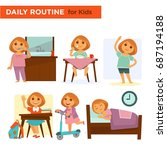 kids on their daily goings | Shutterstock .eps vector #687194188