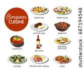 european cuisine menu | Shutterstock .eps vector #687194548