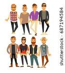 men fashion models in different ... | Shutterstock .eps vector #687194584