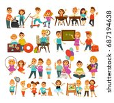 children in school or... | Shutterstock .eps vector #687194638
