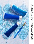 blue  indigo  cobalt colours  ... | Shutterstock . vector #687195019