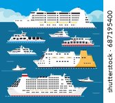 seagoing vessels of all shapes... | Shutterstock .eps vector #687195400