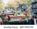 cute authentic amsterdam canals ... | Shutterstock . vector #687196750