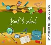 back to school background.... | Shutterstock .eps vector #687201703