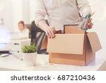 sad dismissed worker taking his ... | Shutterstock . vector #687210436