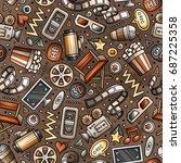 cartoon cute hand drawn cinema... | Shutterstock .eps vector #687225358