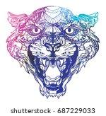 leopard coloring. meditation ... | Shutterstock .eps vector #687229033