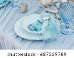 glasses on the table. festive... | Shutterstock . vector #687229789